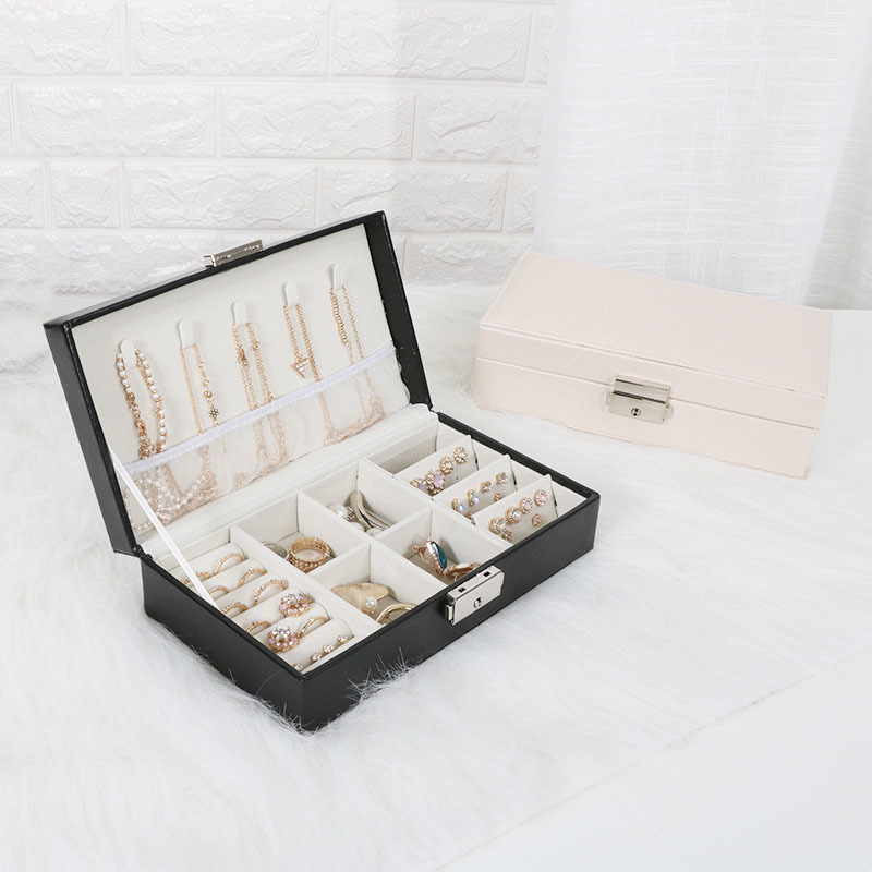 Exquisite Travel Jewelry Box Women Leather Rectangle Packaging Necklace Rings Earrings Storage Organizer Display Gift Boxes Case T7190613