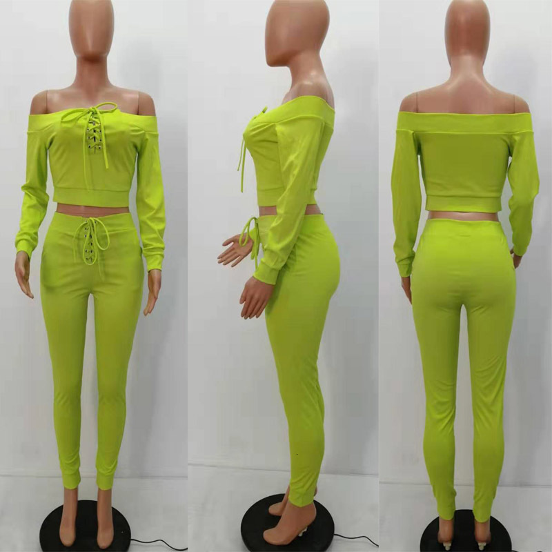 Women Spring Fall 2 Two Piece Set Long Sleeve Off Shoulder Shirt Leggings Pocket Pants Outfits Suit Bandage Elastic Waist Trousers Clothes