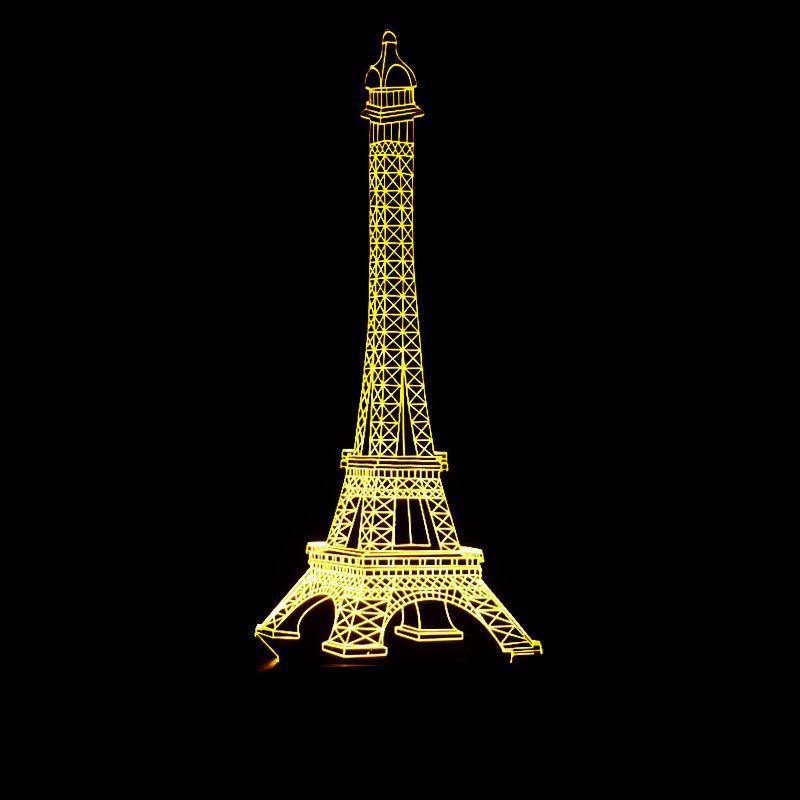 Coloré Tour Eiffel Tower3d Lampe Eiffel Led Télécommande Tactile Commutateur Changement Progressif Vision Petite Veilleuse