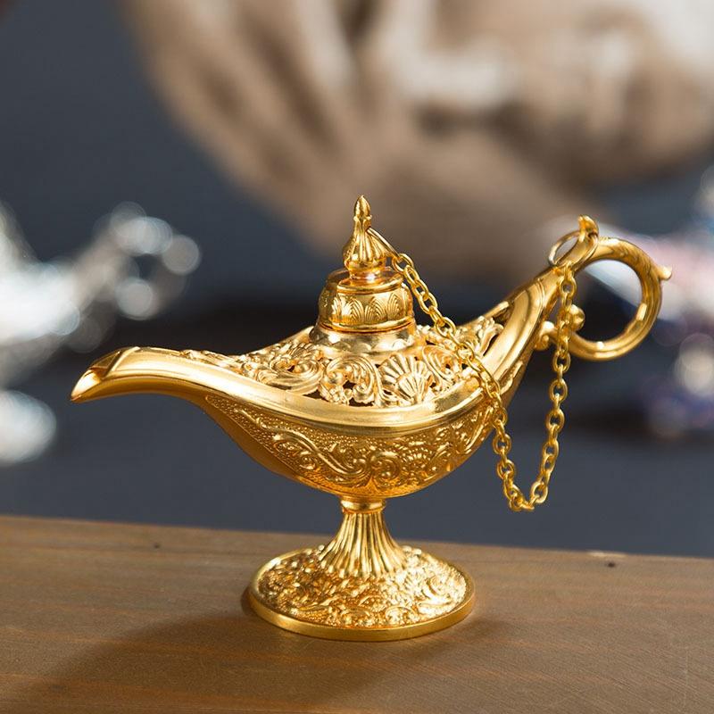 rosado Retro Metal Fairy Tale Aladdin Magic Genie Teapot L/ámpara de aceite Inicio Decoraci/ón de mesa L/ámpara m/ágica de Aladdin