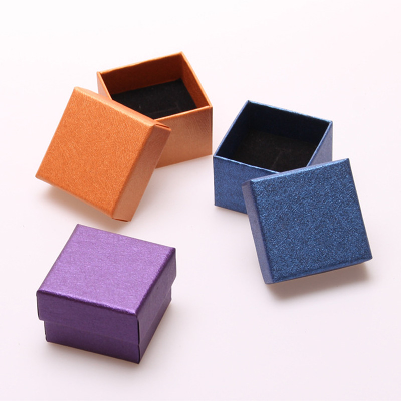 Square Eco Friendly Paper Jewellry Box with Black Sponge Small Solid Color Earrings Ring Jewelry Packaging Display Storage Case