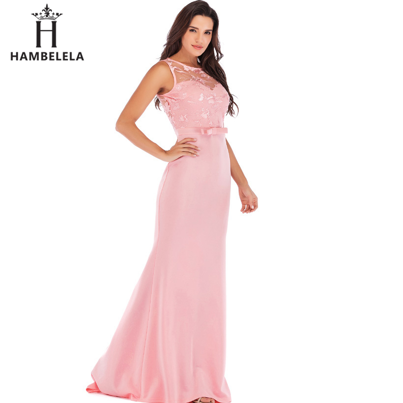 HAMBELELA Long Maxi Backless 2019 Women Dress Summer Evening Party Dresses Sexy O-Neck Elegant Floral Lace Dress Vestidos Longo (6)