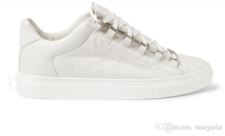 Wholesale-new genuine leather men casual shoes arena Bal*nci*ga low top shoes size 38-47