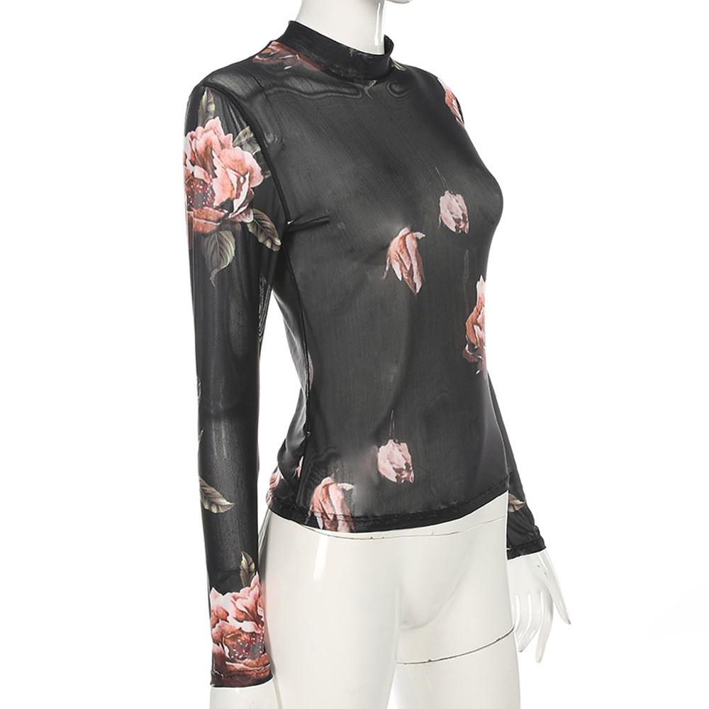 Women Shirt Womens Designer Clothes Women Long Sleeve Sexy T Shirt Skinny Slim Sheer Tops T Shirt Women Camiseta Mujer 2019 Summer