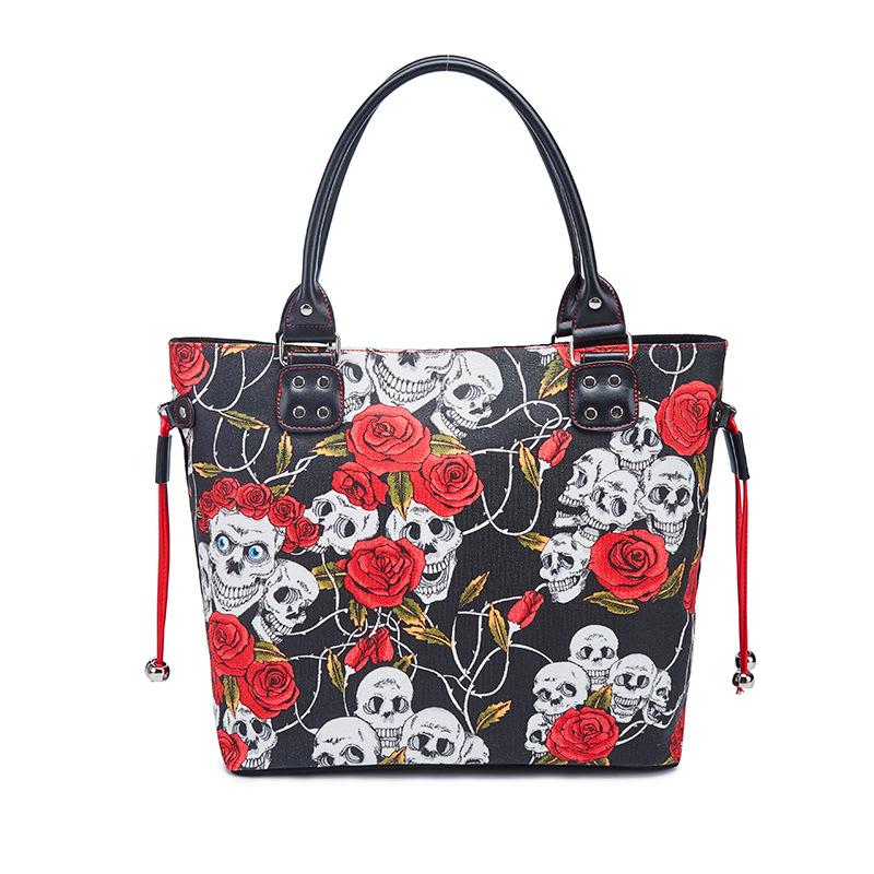 Women Fashion Handbag rétro squelette Gaufrage Sac Bandoulière Grand Fourre-tout sac à main