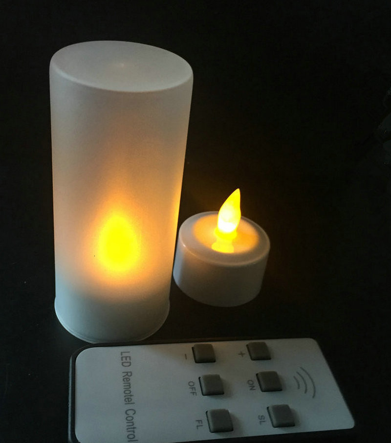 Set Of Led Candle Remote Controlled Flickering Frosted