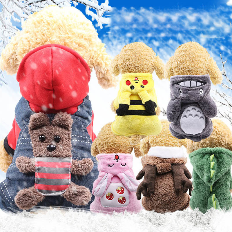 Fleece Dog Clothes Winter Pet Jackets Dog Coat For Dogs Jumpsuits Warm Pet Overalls Cat Clothes For Dogs Hoodies Pets Clothing Wholesale