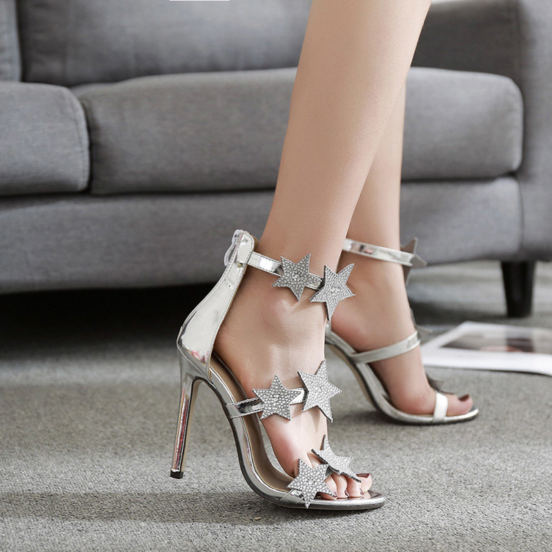 Summer Women High Heels Sandals Luxury Crystal Bridal Wedding Shoes Sexy Black Peep Toe Stiletto Party Pumps Ladies Shoes