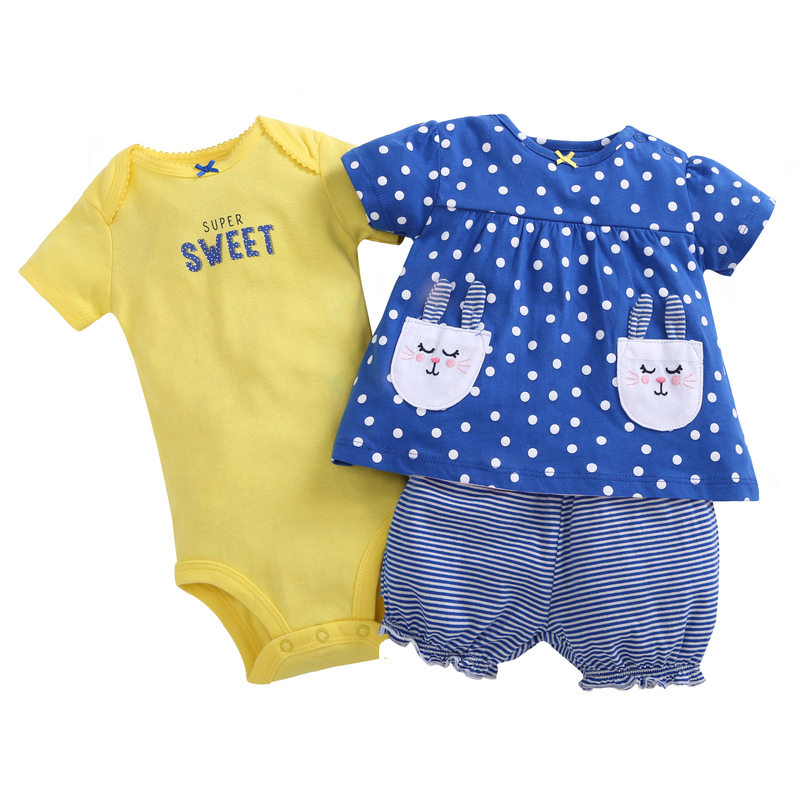 3PCS newborn baby girl clothes cute short sleeve polka dot T-shirttops+sweet romper+stripe shorts for 6-24m baby girl outfits