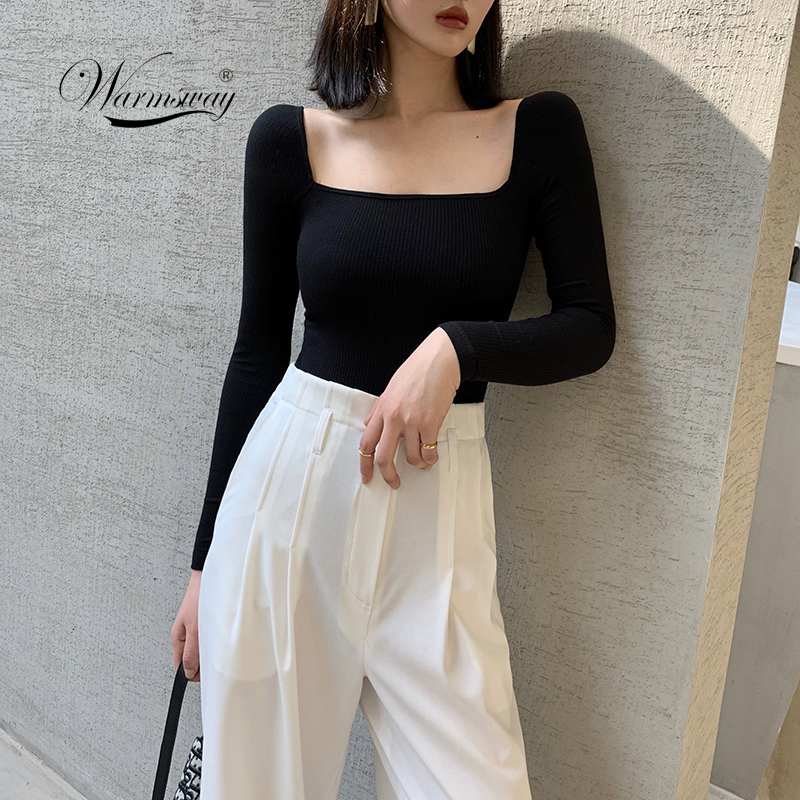 Black Office Lady Elegant Scoop Neck Long Sleeve Solid mercerized cotton Pullovers Tee 2019 Casual Women T-shirt And Top B-076