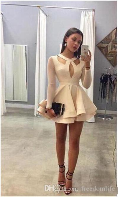 2018 O-Neck Illusion Prom Dresses Long Sleeves A-Line Chiffon Mini Party Gowns Custom Made Online Short Homecoming Dress