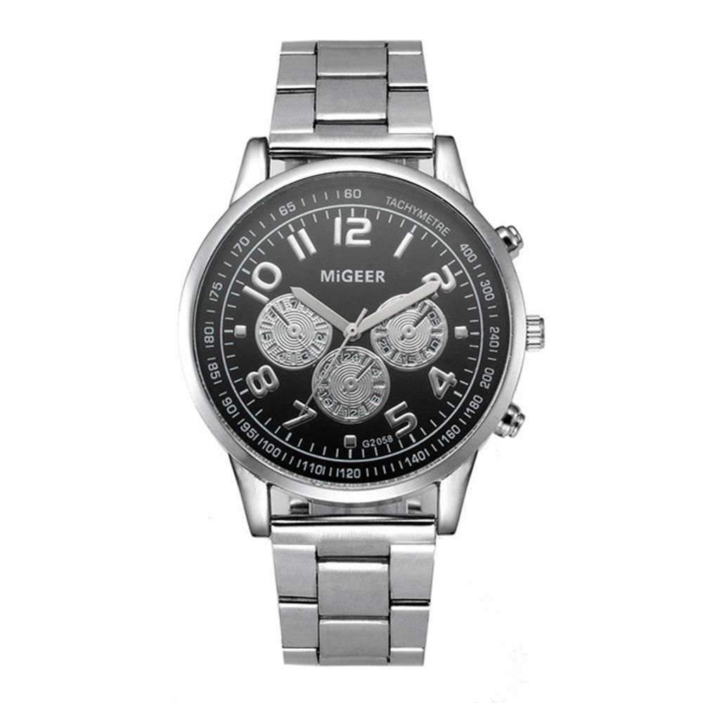 Affaires concis acier apportent montre à quartz montre-bracelet étudiant montre-bracelet beau