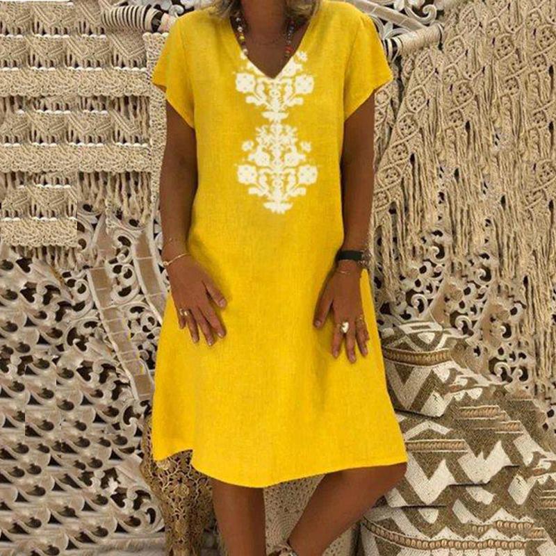 Women Dresses Knee Length Streetwear Fashion Summer Dress Women Plus Size 5XL Cotton Linen Dress Vintage Casual Vestidos Mujer 4