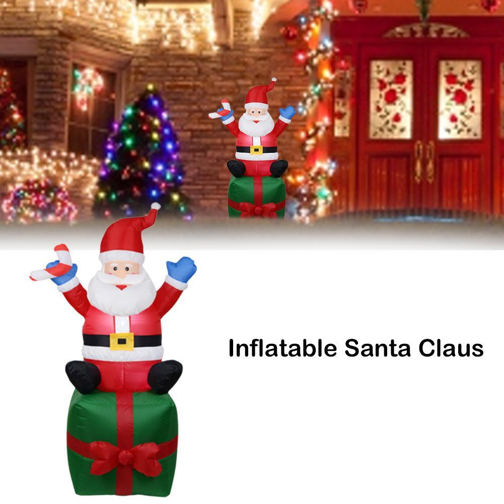 2M Santa Riding Polar Bear Inflatable Doll For Decoration Christmas Party Garden