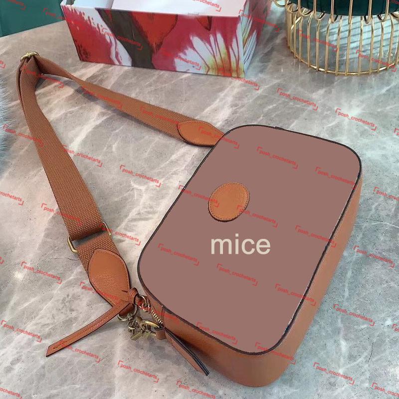 Designer Camera Bag Genuine Leather Crossbody for Women's Designer Purse Mouse Print Camera Bag With Box