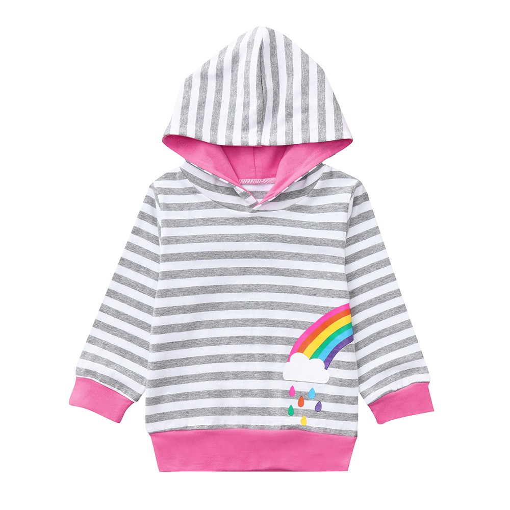 Little Kids Girls Colorful Striped Round Neck Rainbow Print Pullover Sweater Cotton Warm Sweatshirt Tops