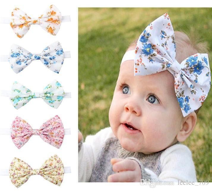 Cheap Hairbows Floral Print Big Bow Sweet Hair Accessories Headband Hair For Holiday Beach Baby Girl Elastic Wholesale
