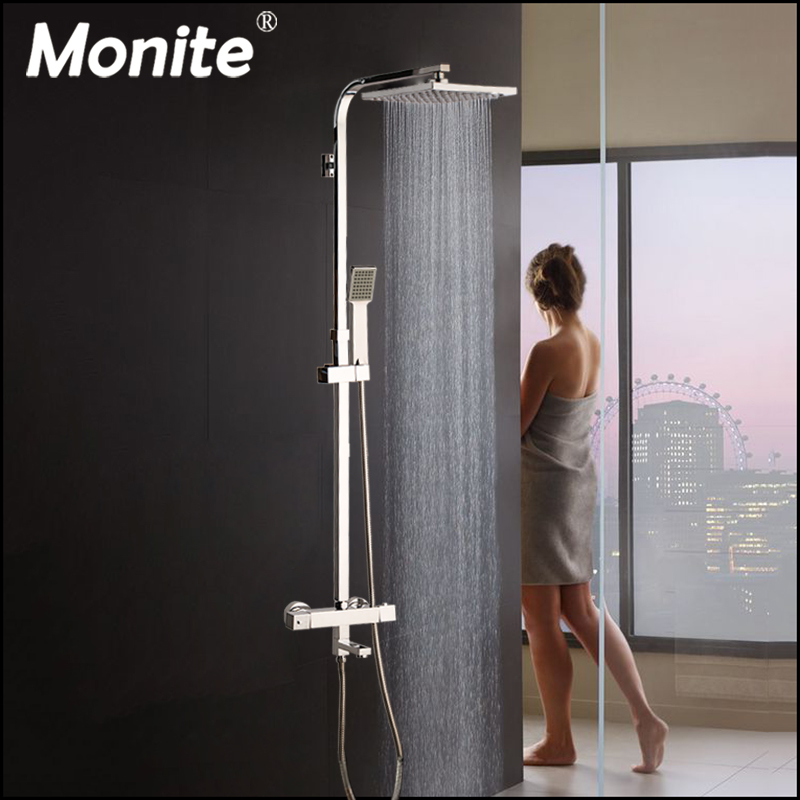 Monite 8 inch Rainfall Thermostatic 3 Functions Chrome Polish Shower Head Shower Set Bathroom Bathtub Shower Mixer Tap Faucet