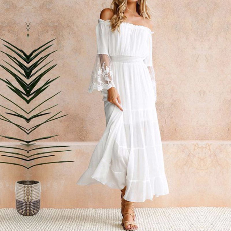 Moonbiffy Summer Sundress Women White Beach Strapless Long Sleeve Loose Sexy Off Shoulder Lace Boho Cotton Maxi Dress MX190727 MX190801