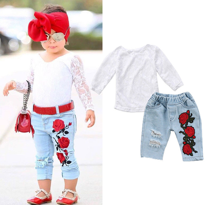Newborn Kids Baby Girls Clothes Set Autumn 3D Flower Lace Long Sleeve White Tops Denim Hot Pants Girl Clothing Outfits