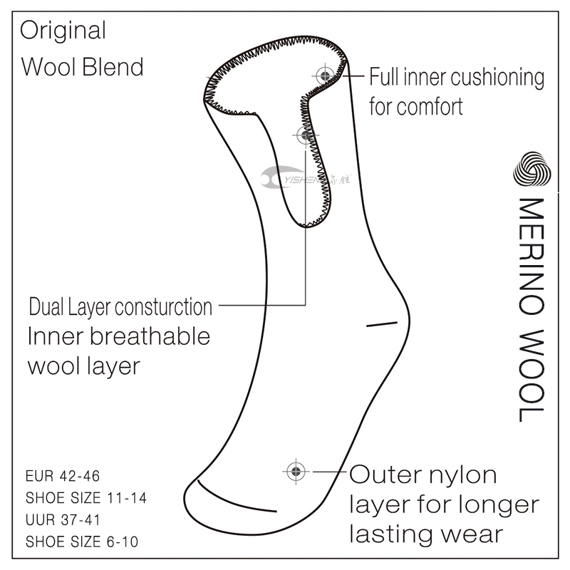 vendita all'ingrosso calze di lana merino uomo donna di alta qualità spessa e calda lavorare in moda outdoor calzino