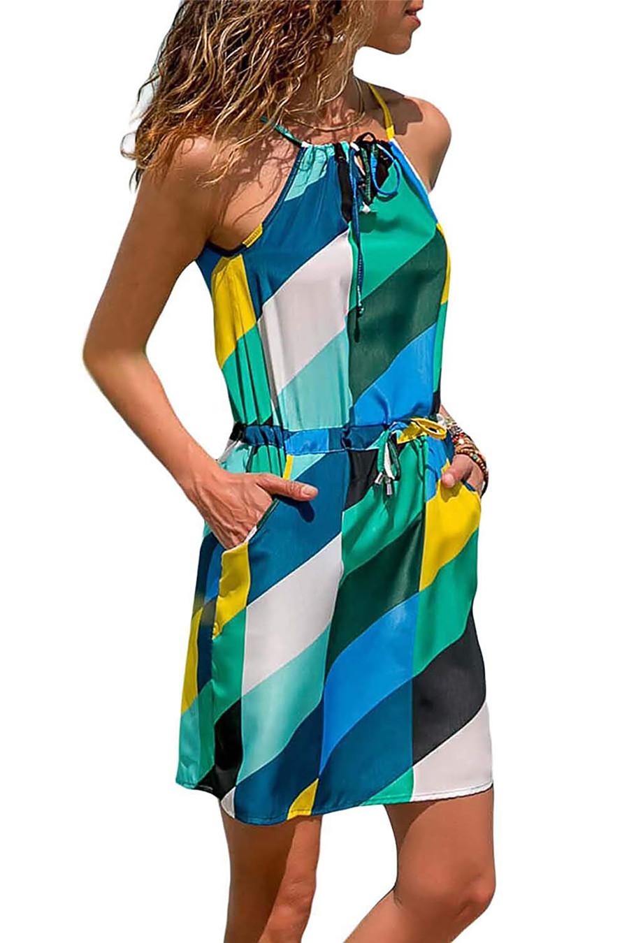 Gladiolus Chiffon Women Summer Dress Spaghetti Strap Floral Print Pocket Sexy Bohemian Beach Dress 2019 Short Ladies Dresses (33)