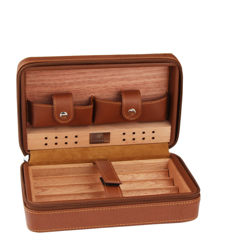 COHIBA Black /& Red Stitching Leather Adjustable Cedar Lined 2 Tube Cigar Case
