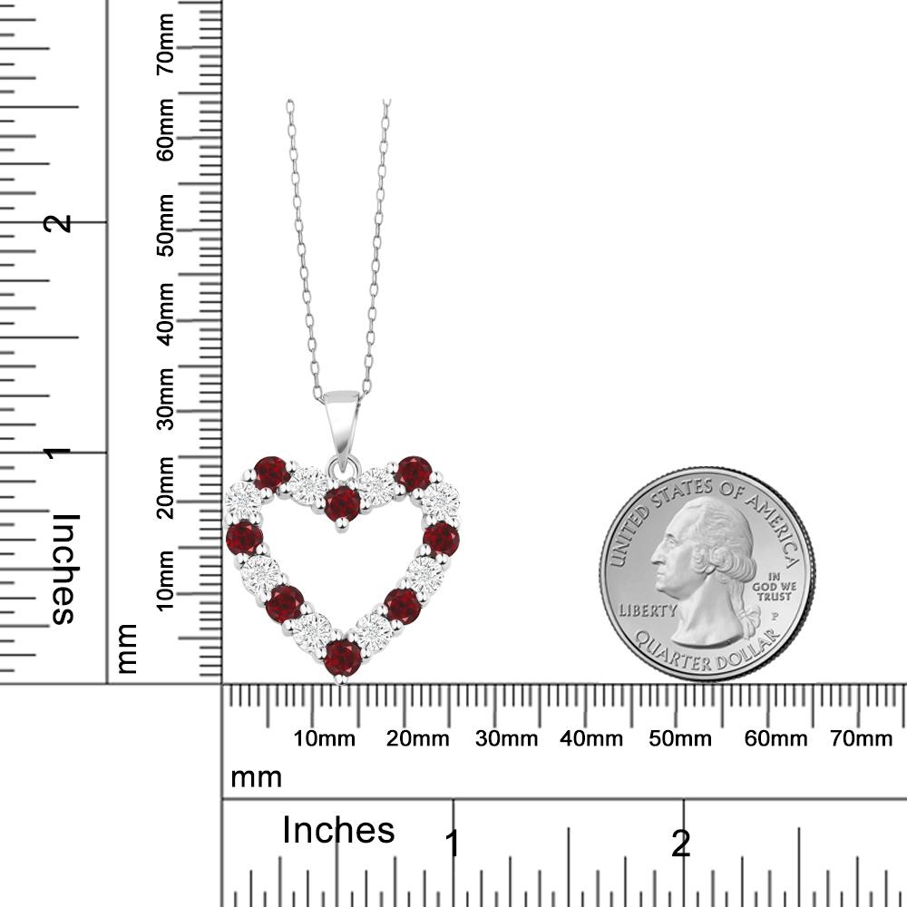 Edelsteinbesetzter natürlicher Diamant und roter Granat 925 Sterling Silber Herz Anhänger Halskette für Frauen J190706