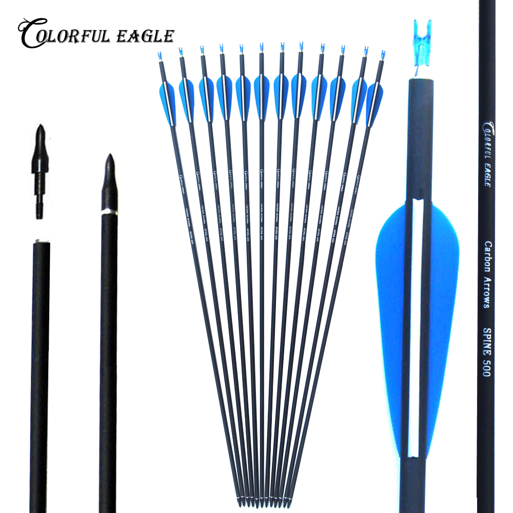 """Hunting Archery 12pcs  30/"""" OD7.6mm Yellow Shafts Carbon Arrows Bolts Feathers"""