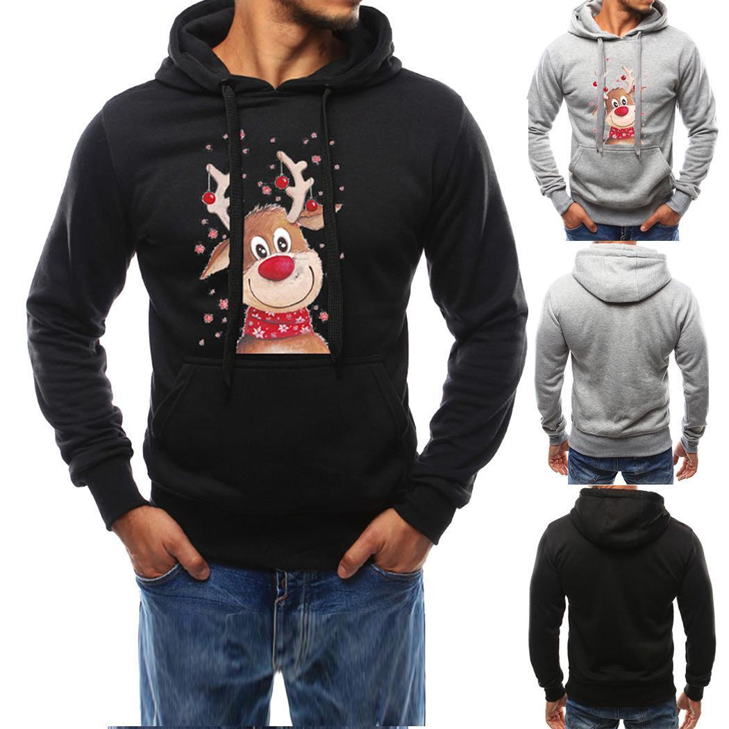Indossare nuovo modo Uomini Felpa a maniche lunghe di Natale Elk Stampa coulisse cappuccio Pullover nuovi uomini di modo