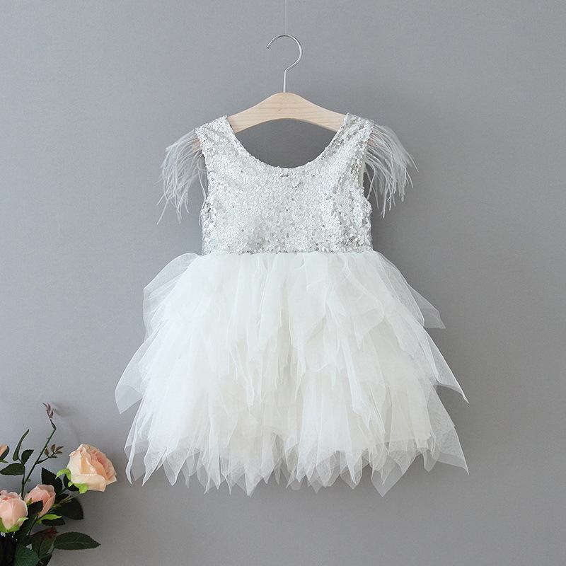 69-18-Feather Sequins Tiered Girls Dress