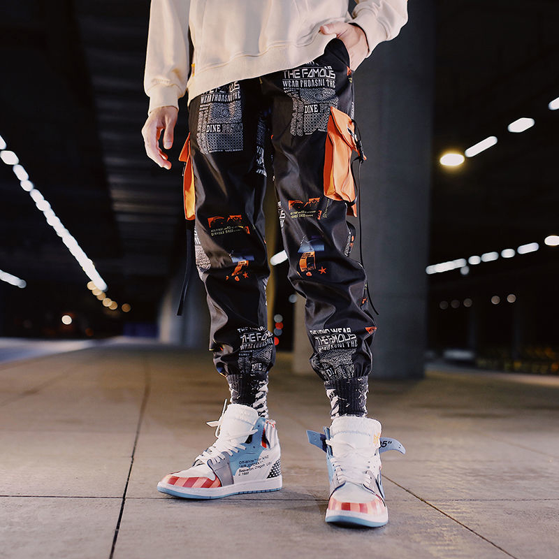 Japan Men Pants Casual Mens hip hop rap Male Trousers street boy quick-dry Straight Full breathing loose ankle banded Pant