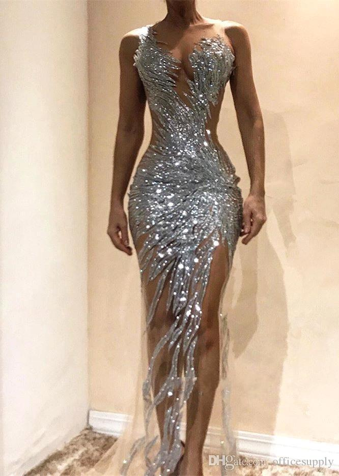 Gorgeous Silver Mermaid Prom Dresses 2020 Sexy See Through Sequins Bodice Split Long Women Occasion Evening Gowns Custom Made
