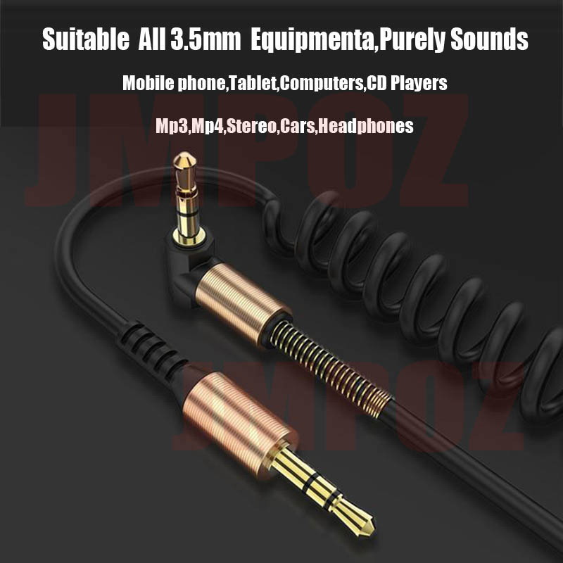 3.5 Jack Aux Cable 3.5mm Car Spring Audio Cable 1.8M Gold Plated jack male to male speaker cables for Headphone Speaker