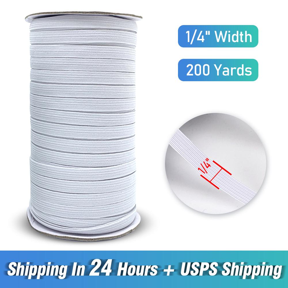Blanco, 3mm 100 yardas de longitud bricolaje trenzado banda el/ástica cuerda de punto banda de costura 1//8 1//6 1//4 pulgadas