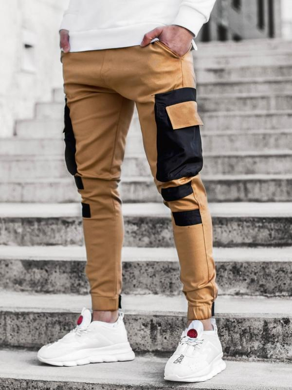 Frieed Mens Solid Leisure Closed Bottom Drawstring Slim Fit Multi-Pocket Pants