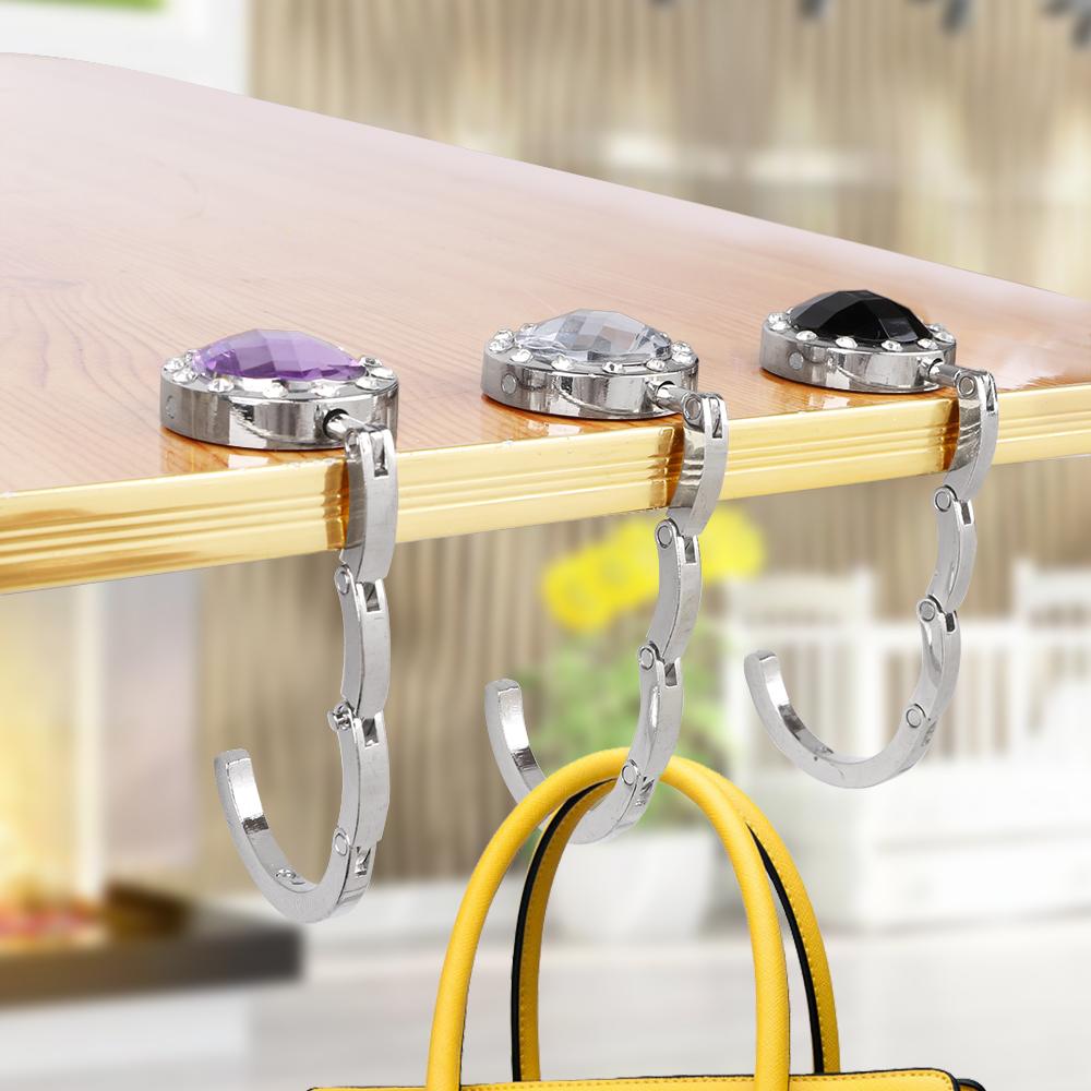 Bamboo Lantern Purple China Town Table Hook Folding Bag Desk Hanger Foldable Holder