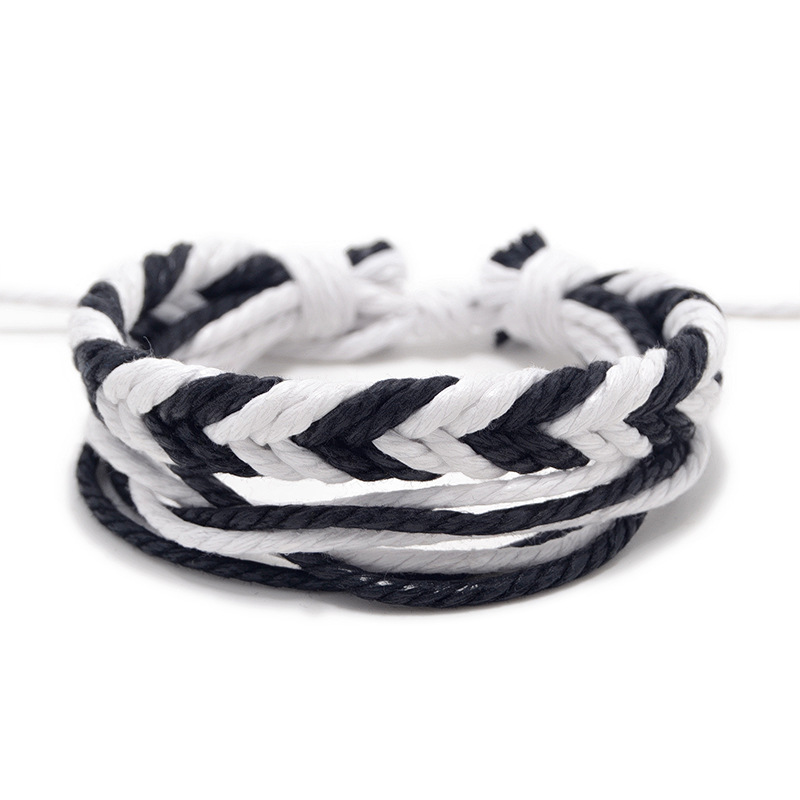 r/églable Weryffe Bracelet tress/é tib/étain Fait /à la Main Unisexe Perles de cuivre Bracelet de Corde Chanceux pour Femmes et Hommes Noir-3 Perles