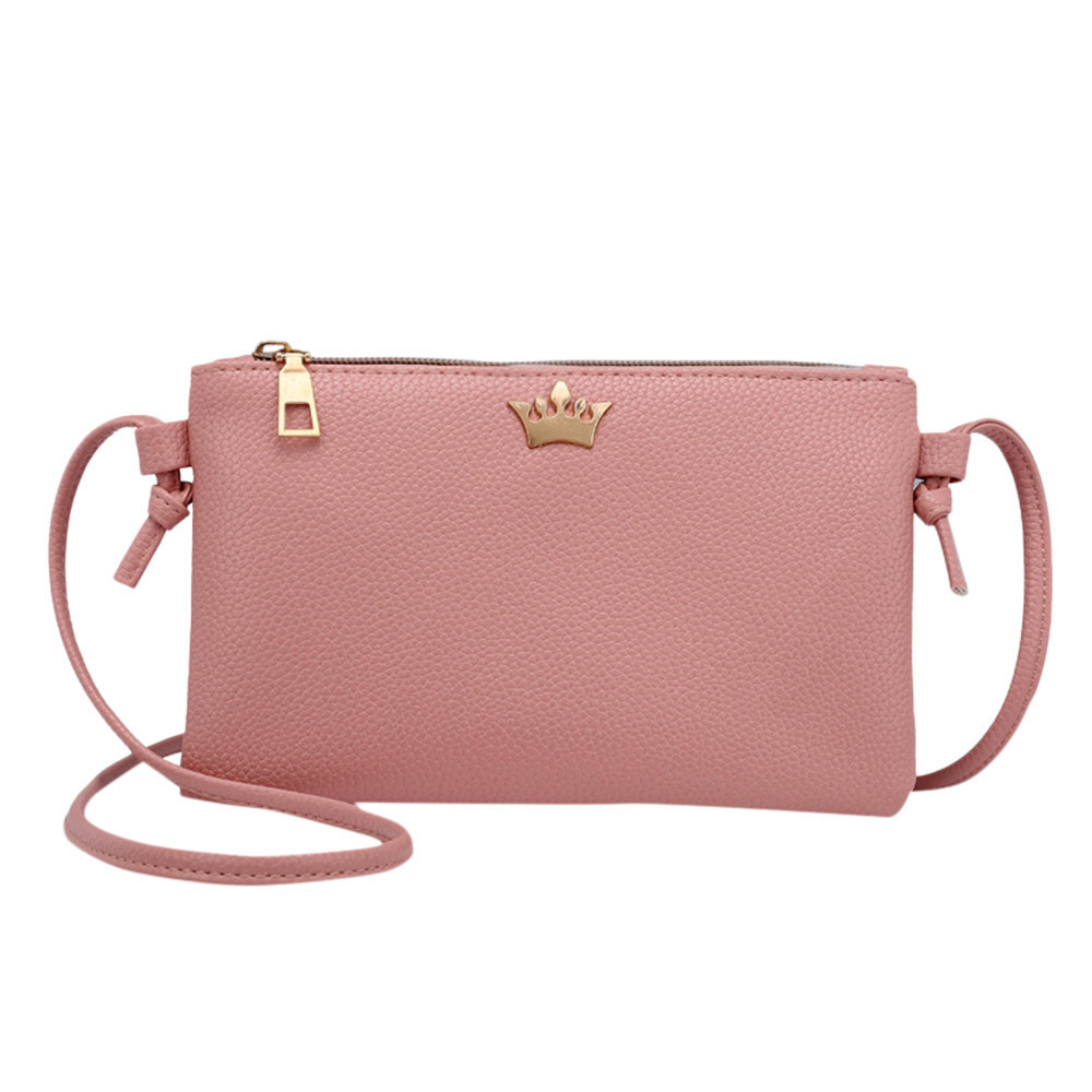 Fashion Ladies Leather Bag 2019 Crown Small Seal Solid Color Leather Shoulder Messenger Bag Purse Coin Bag Purse Men Coin A6