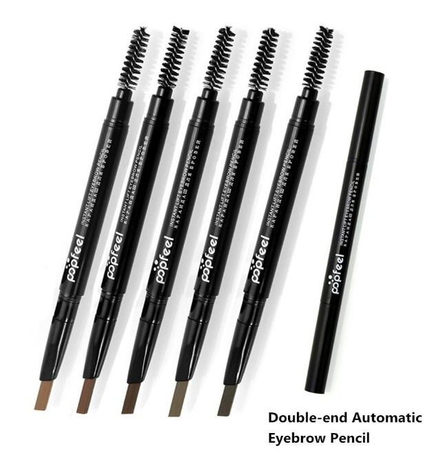 DHL Free Eyebrow Pencil Waterproof Automatically Rotating Makeup Eye Brow Pen Double Ended LongLasting Deep Light Black Brown Grey +Brush