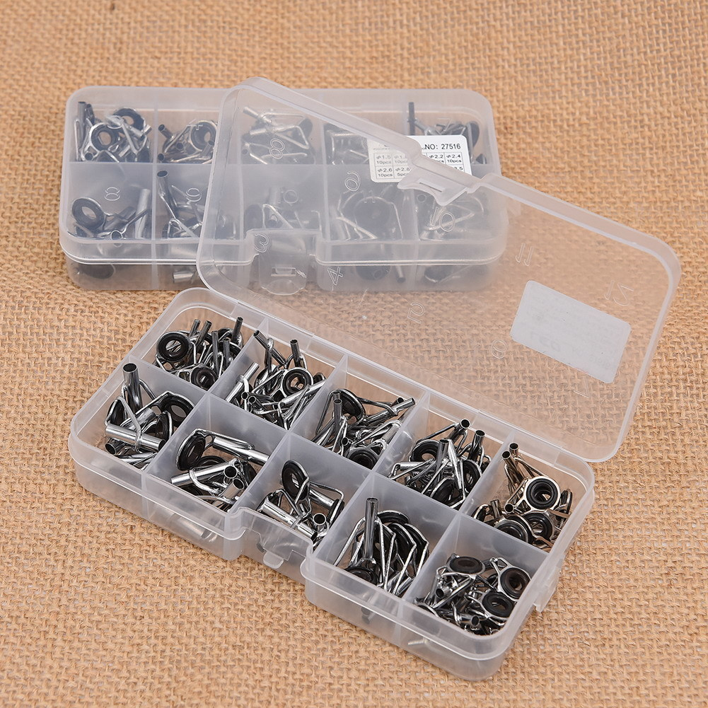 Rings Fishing Rod Guide Tip Set Repair Kit DIY Eye Rings for Fishing Rods Stainless Steel Frames With Box Fishing Tackle