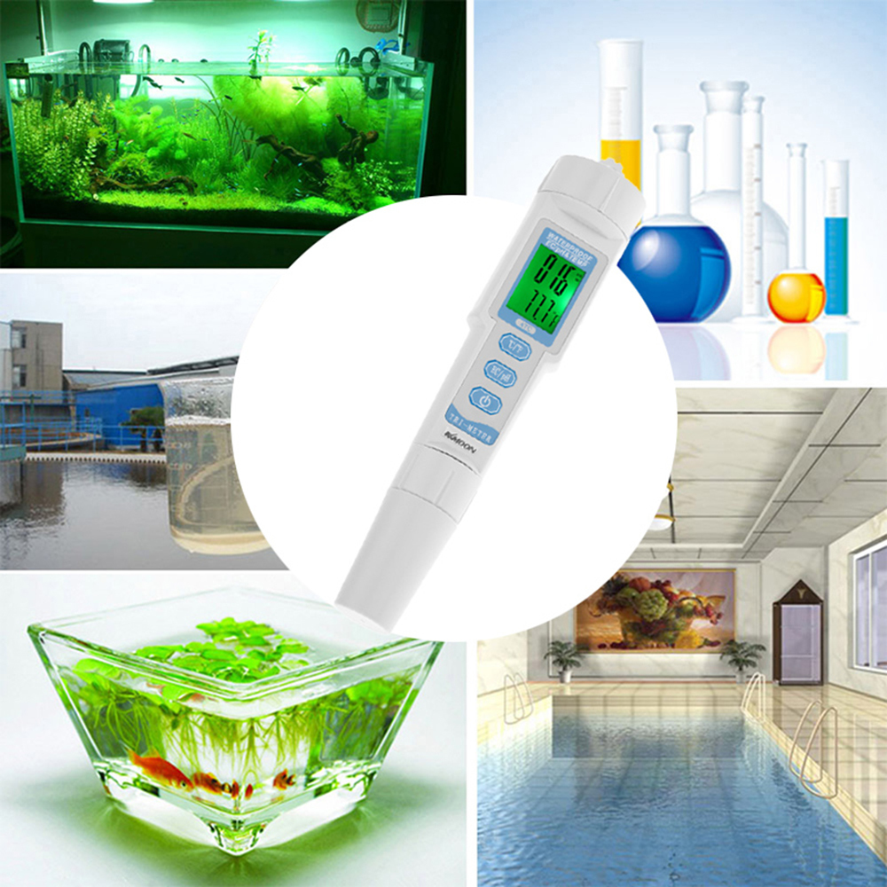 Kkmoon 3 en 1 medidor de Ph Multi-parámetro Tester de calidad del agua Monitor Tipo de pluma Ec Temp Meter Acidómetro Analizador de calidad del agua T8190619