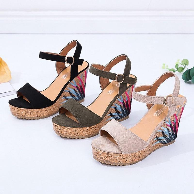 COOTELILI High Heels Women Summer Shoes Women Sandals Summer Shoes Women Open Toe Embroidery Beach Sandals 35-39 (11)