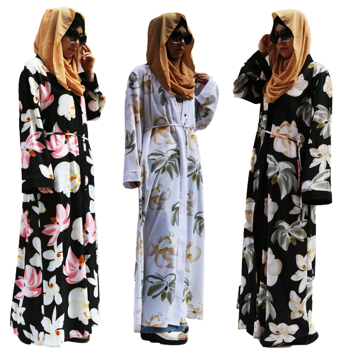 Domple Womens Middle East Sports Hooded Muslim Cardigan Robes Maxi Dress