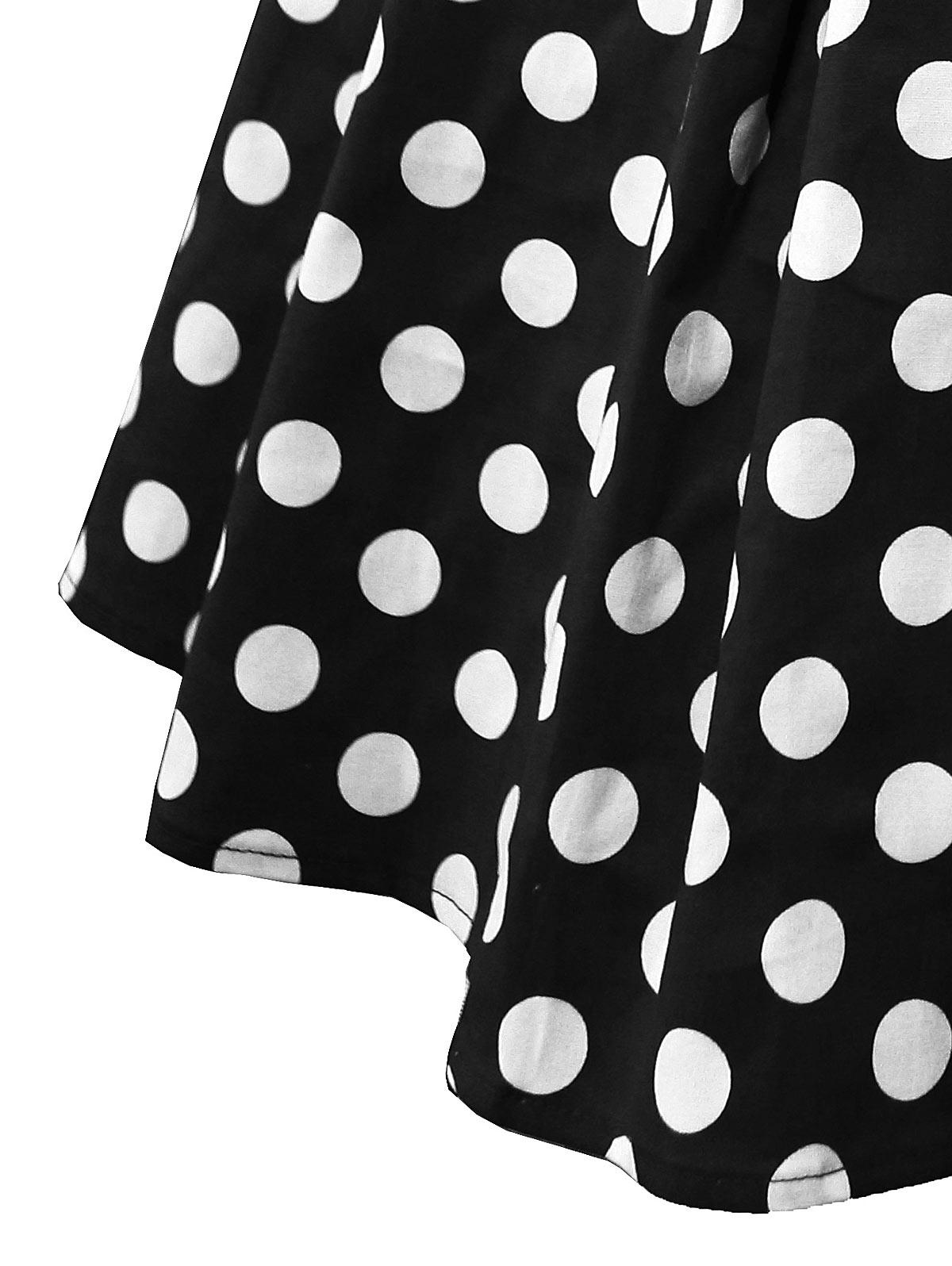 Wiplao Cotton Summer Women Skirt Red Black White Polka Dot High Waist Vintage Tutu Skater faldas mujer Casual Swing Midi Skirts
