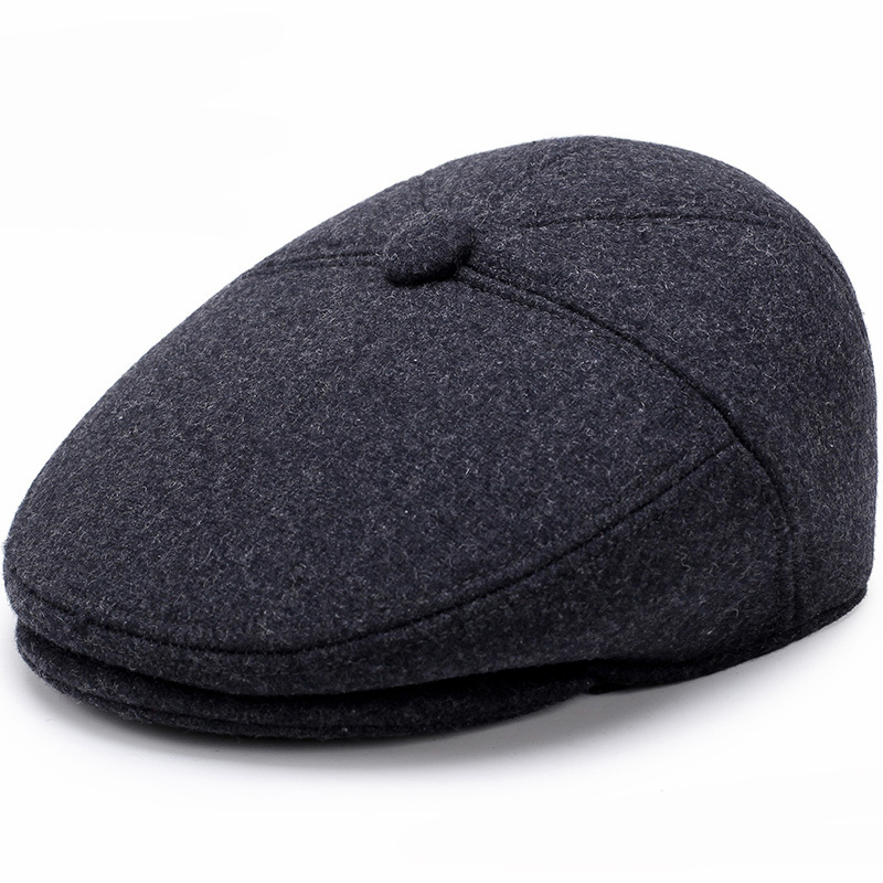 Big Head Man Plus Size Octagonal Hat Wool Felt Beret Casual Painter Cap Autumn Hat Fitted Newsboy Cap