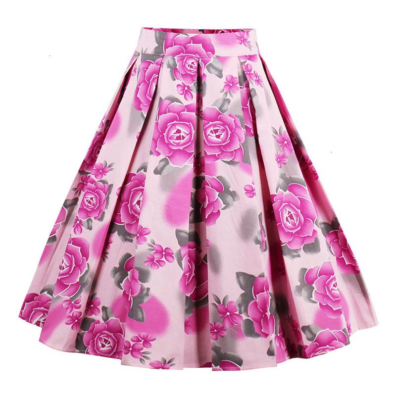 Kostlish Retro Print Flower Summer Skirts Womens High Waist Vintage Skirt Elegant A-Line Midi Women Skirt Plus Size XXL (21)