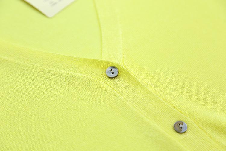 Hochwertige Damenmode Herbst Sommer Strickjacke Candy Farbe 3/4 Ärmel Knöpfe Strickhemd Dünne Strickjacke Feminino Kardigany