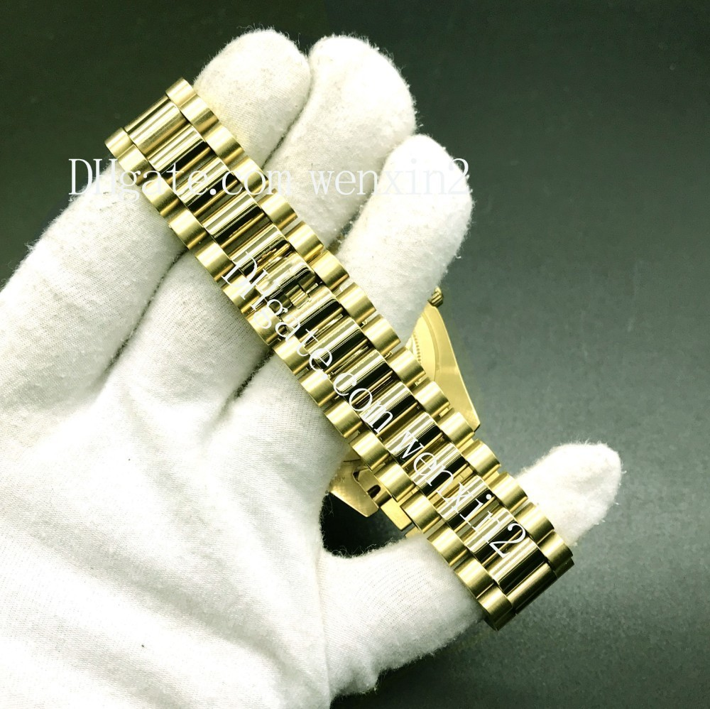 Luxury Watch 43mm 2813 Gold President Day-Date Diamonds Watch Men Stainless Roman BlueDiamond Bezel Automatic WristWatch