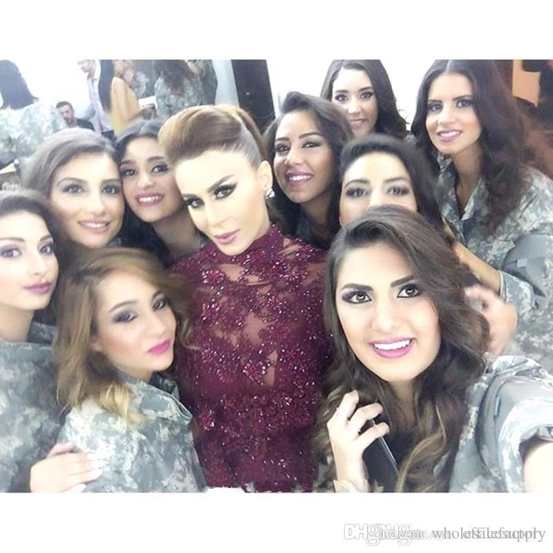 2018 Arabic Dubai Fancy Lace Mermaid Long Evening Dresses Capped Sleeves Beaded Crystals Sweep Train Prom Dresses BA3193